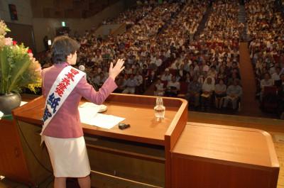 訴える紙智子参院議員=2013年6月3日、川越市