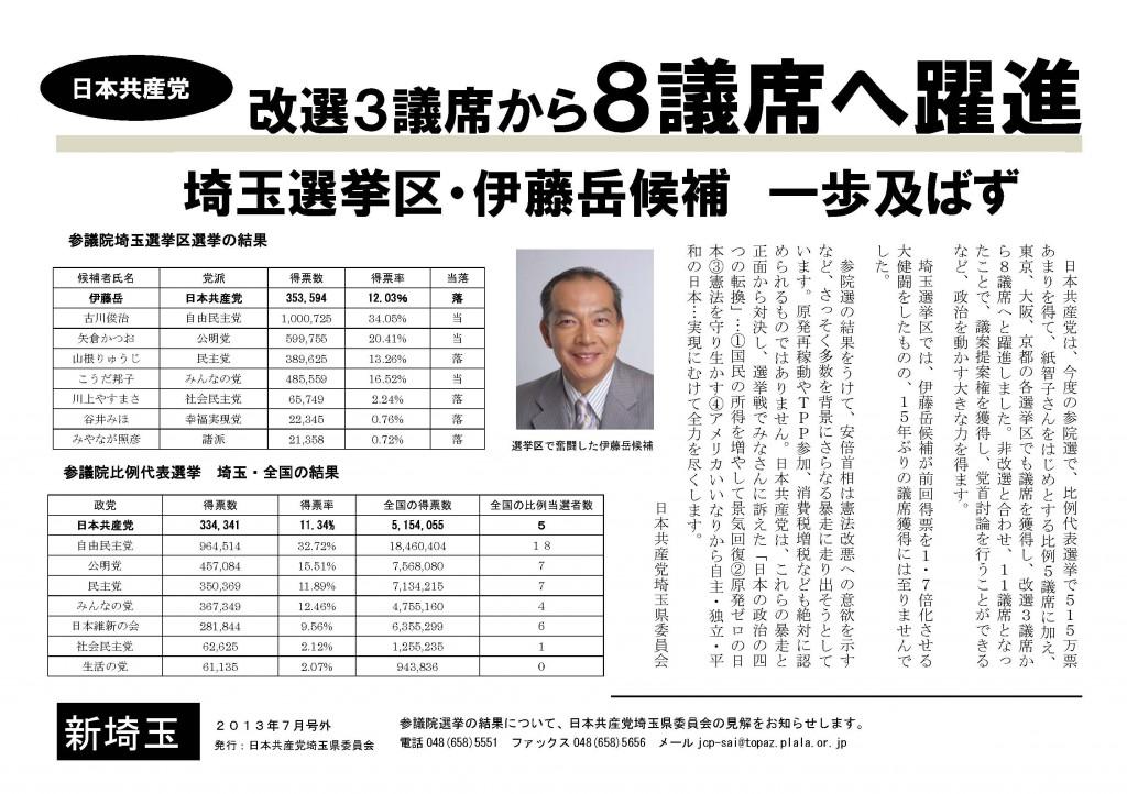 伊藤候補・一歩及ばす(新埼玉号外)