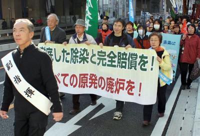 「原発廃炉」などと訴えてパレードする参加者=2013年11月24日、さいたま市