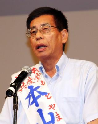 決意を語る本山県議候補=2014年7月27日、川越市
