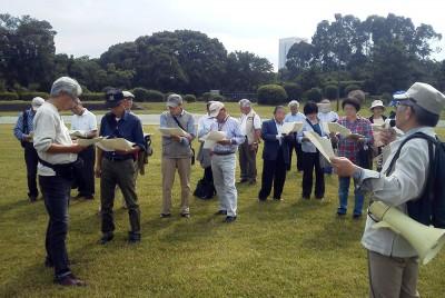 赤旗まつり会場を調査する埼玉県実行委=2014年9月24日、夢の島公園