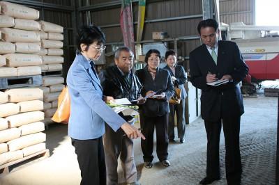 米農家の実情を聞く、紙参院議員(左端)と(右から)村岡埼玉県議、松本加須市議、鈴木参院埼玉12区候補=27日、加須市
