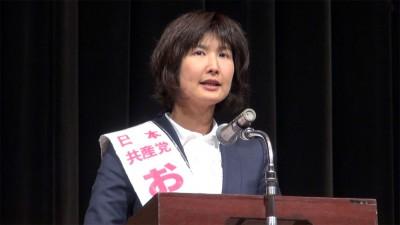 おかざき郁子県議候補=2015年1月11日、さいたま市