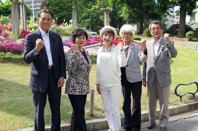 5人の党県議(左から)