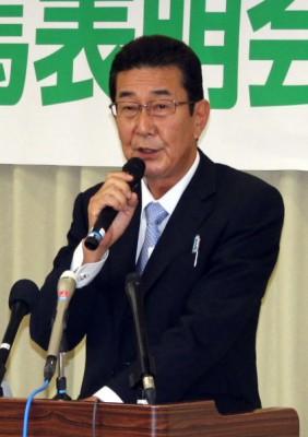 決意表明する柴田氏=2015年6月23日、さいたま市