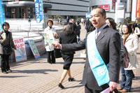 大宮駅で埼玉大学新入生に向けて宣伝