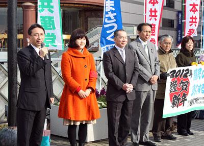 川口駅前での宣伝の様子